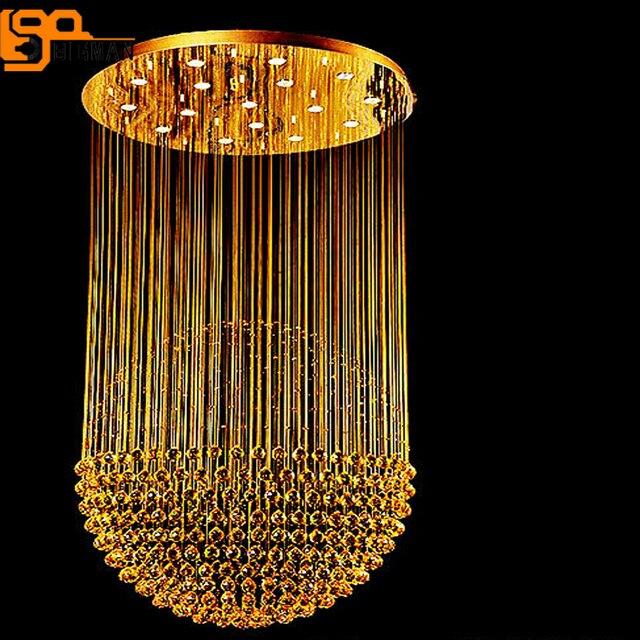 Vente chaude grand lustre en cristal moderne lustre LED foyer lustre