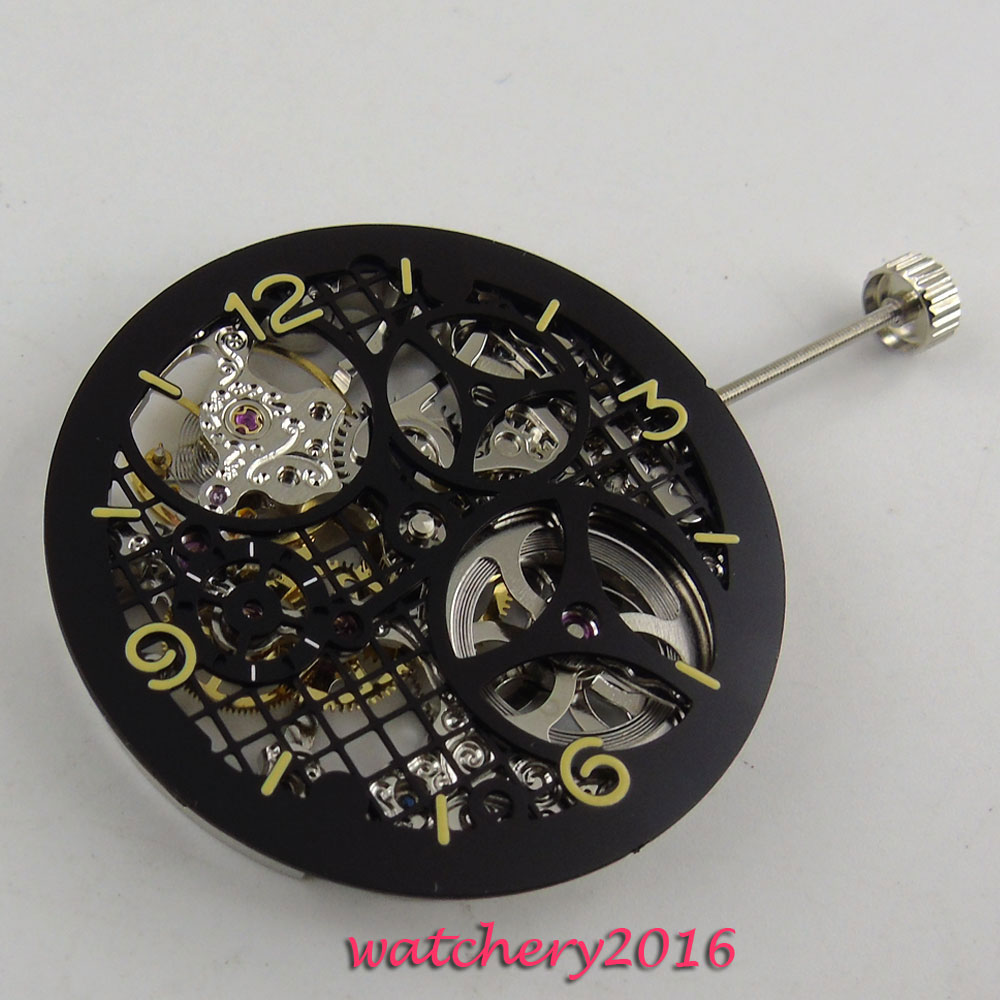 17 Jewels silver Full Skeleton 6497 Hand Winding movement add one 38.7mm dial цена и фото
