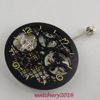 17 Jewels silver Full Skeleton 6497 Hand Winding movement add one 38.7mm dial