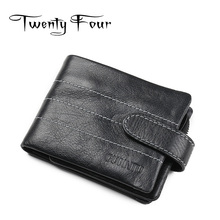Twenty-four Genuine Leather Male wallets Soft Leather With Card Photo Holder Hasp Button Purse Short Clutch Vintage Style