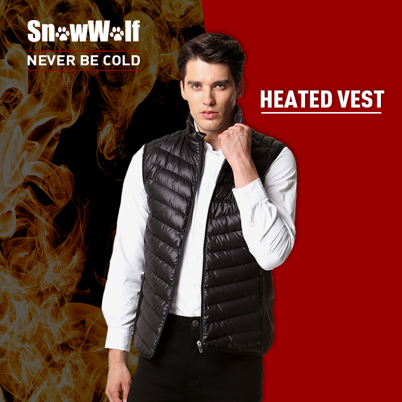SNOWWOLF Infrared Heating Thermal Black Male Vests Man's Winter Outdoor Sport Heated Vest For Hiking Running Hunting Skiing USB new heated down vest usb charging vest skiing hiking camping winter men vest down keep body warm blue black size s xxl