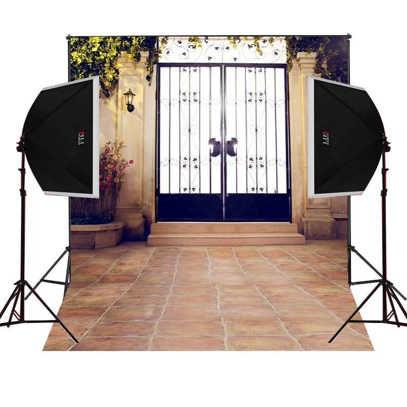 Indoor iron gate scenic for kids photos camera fotografica studio vinyl photography background backdrop cloth digital props