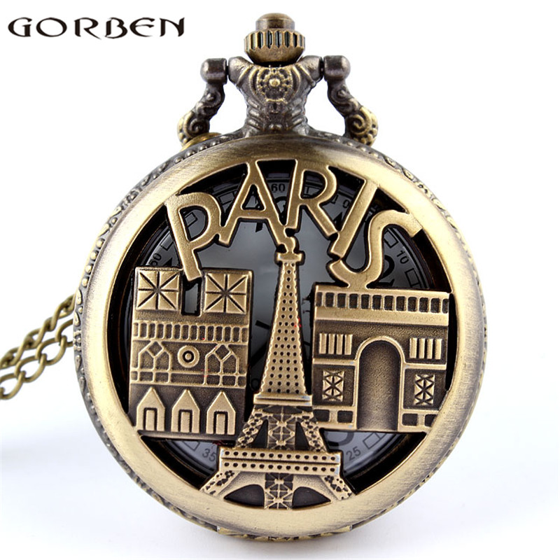 France Paris Eiffel Tower Triumphal Arch Souvenir Hollow Quartz Pocket Watch Bronze Women Exquisite Gift Pendant Famous Building