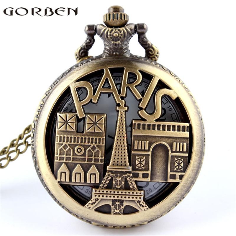 France Paris Eiffel Tower Triumphal Arch Souvenir Hollow Quartz Pocket Watch Bronze Women Exquisite Gift Pendant Famous Building