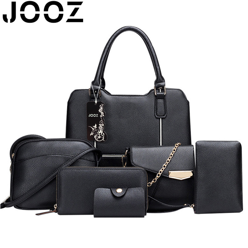 JOOZ Brand Luxury bags PU leather Woman Handbag 6 Pcs Set Lady Patchwork Shell Bags Female Shoulder Crossbody Messenger Bag jooz brand luxury belts solid pu leather women handbag 3 pcs composite bags set female shoulder crossbody bag lady purse clutch