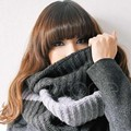 Women Wool Neck Warm Infinity 2 Circle Cable Knit Winter Long Scarf Shawl Wrap