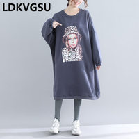 Print Long Sweatshirts Women 2018 Autumn Winter New Casual Loose Large Size Plus Velvet Thick Femme O neck Hoodies Dress Is1338
