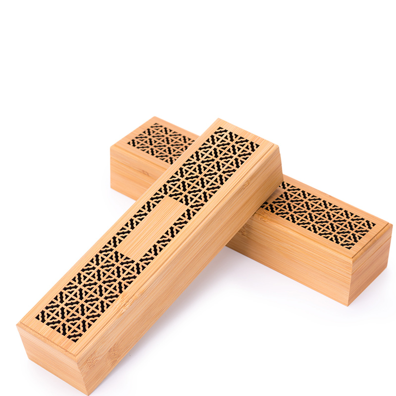 PINNY 24*6*4.5cm Natural Bamboo Incense Burner Double Layer Stick Censer Room Decoration Meditation Zen Box
