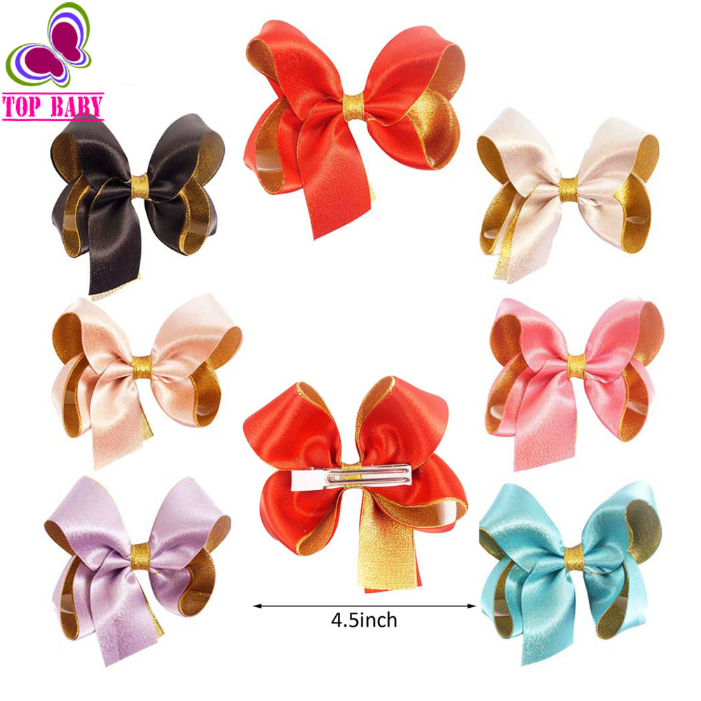 Ha hair bow ribbon wholesale - 4 5 Girls Boutique Gold Organza Satin Ribbon Hair Bows With Barrettes Hair Clips Girls Kid