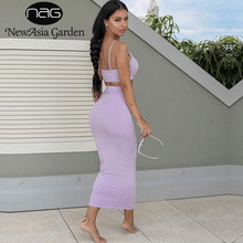 NewAsia Garden 2 Layers Maxi Dress Long Pink Bodycon Dress Women Elegant Autumn Sexy Dress Winter Party Dresses Ladies Club Wear(China)