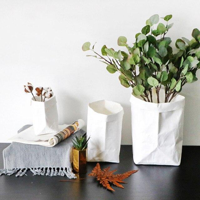 White Flower Pot Six Size Washable Multifunction Kraft Paper Bag Plant  Flowers Pots Home Storage Bag