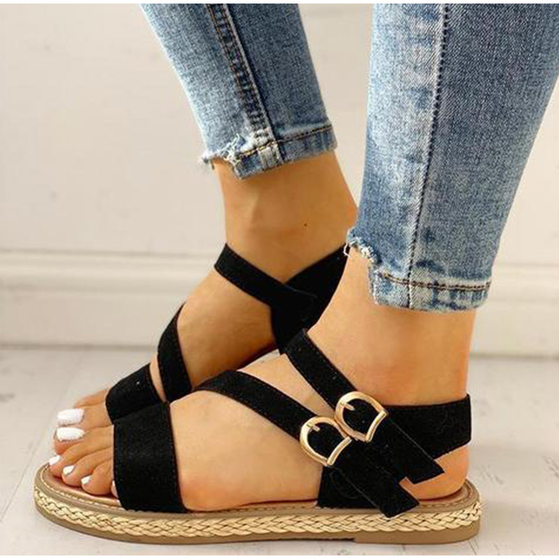 Sandals for Women Wedge Sandals for Women Casual Open Toe Flat with Buckle Strap Shoes Low Heels Sandals