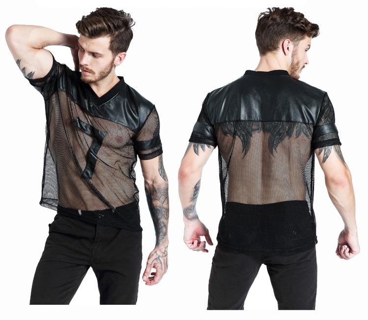 Buy Fashion New Male Black Leather Fishnet Tops Undershirt Erotic See V-Neck Mesh T-Shirt Strong Popular Men Fitness Costume