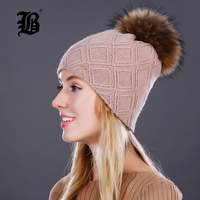 [FLB]   Beanie   For Women's Winter Pompom Fur Hats silk Decor Hat Female Wool Knitted Warm Caps 2018   Skullies     Beanies   FLBMX17018
