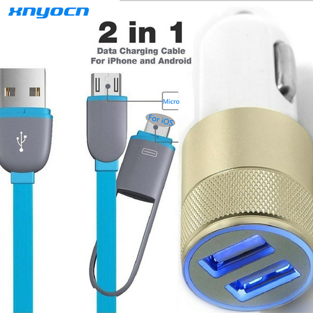 ee46a9842d6 2 puerto 3.1A Dual USB del coche del teléfono celular cargadores + 2in1 3ft  8