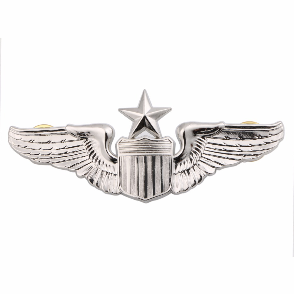 USAF U.S. AIR FORCE SENIOR PILOT METAL WING BADGE INSIGNIA SILVER-32209