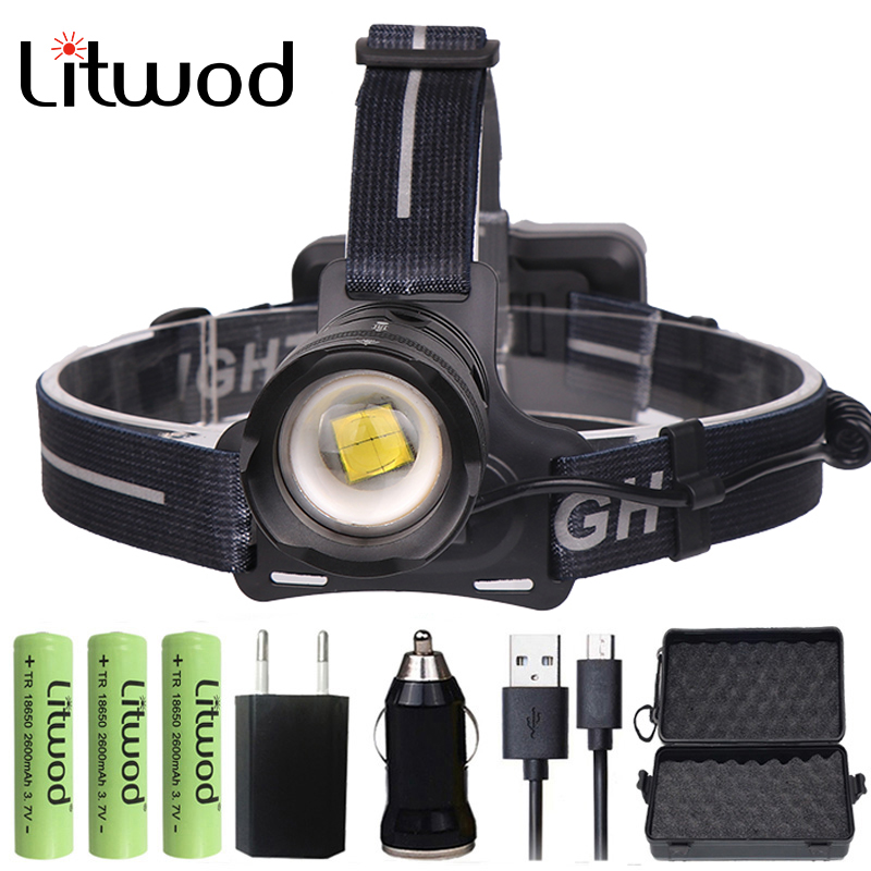 Litwod Z202810 Led phare Original CREE Xlamp XHP70 32 W haute puissance xhp50 phare Led lampe frontale 18650 lampe torcheLitwod Z202810 Led phare Original CREE Xlamp XHP70 32 W haute puissance xhp50 phare Led lampe frontale 18650 lampe torche