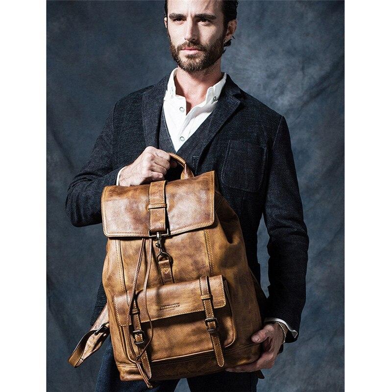 Di marca del cuoio genuino grandi zaini degli uomini di multi tasca zainetto collegio sacchetto dei bagagli di viaggio zainetto epoca fatti a mano bolsa - 3