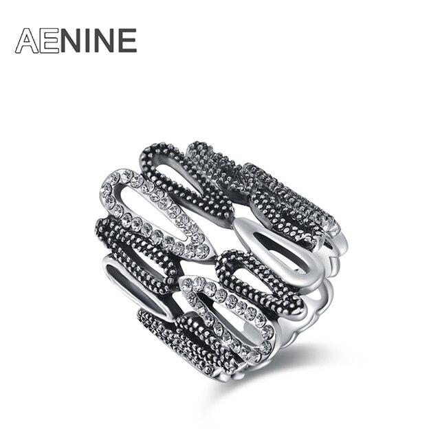 AENINE Fashion Rings Silver Color anillos wedding rings Austrian crystal Environ