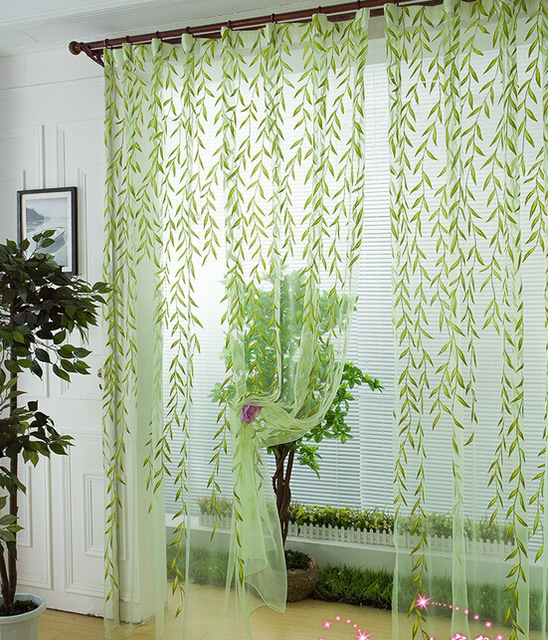 Scenic window curtain modern rustic balcony window screening curtain tulle  home decoration fabric decorative curtain leaf