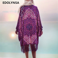 Bohemian Style 2018 Summer Purple Kimono Cardigan Casual Fashion Boho Hippie Embroidery Tassel Ladies Shirts Women