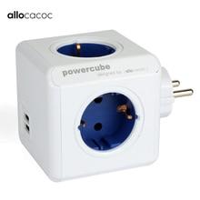 Allocacoc Eu Plug Powercube Elektrische Usb Outlet Eu Plug Power Strip Multi Extension Socket Adapter Travel Adapter Smart Thuisgebruik