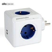 Allocacoc Phích Cắm EU Powercube Điện USB Ổ Cắm Phích Cắm EU Dán Cường Lực Đa Nối Dài Adapter Du Lịch Thông Minh Sử Dụng Tại Nhà