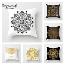 Fuwatacchi Mandala Floral Cushion Cover Gold  Black Printed Pillow Decorative Pillows For Sofa Car Bedroom