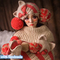 Fox Beanie & Fox Gloves & Shawl Cute Women Winter Thick Hat 100% Handmade Knit Caps Gift