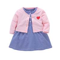 2pcs Baby Children Kids Traveler Babysoft Bodysuit Dress Cardigan Infant Baby Soft Cotton Dresses Sets Baby