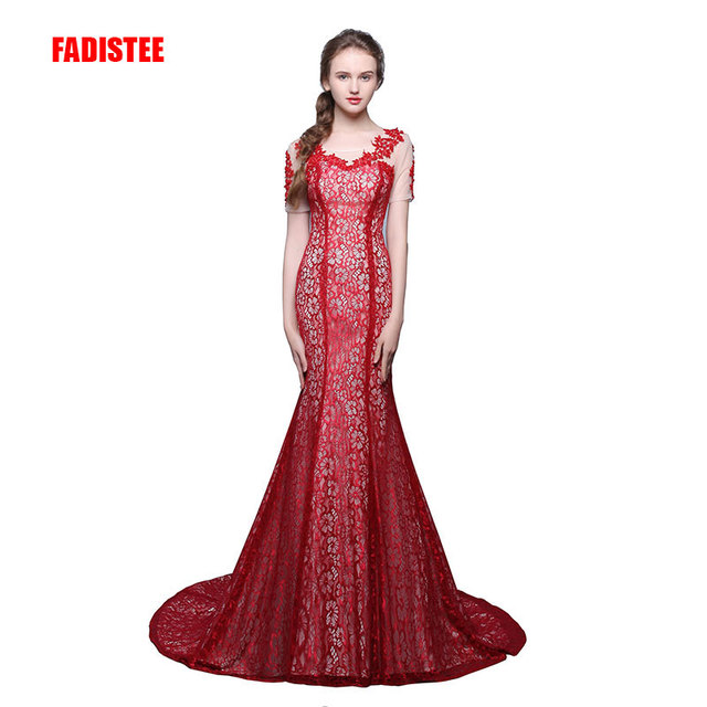 FADISTEE New arrival lace evening party short sleeves prom vestidos de festa long beading sexy style dress