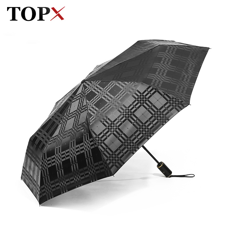 Wind Resistant Folding Automatic Dark grid Umbrella Rain Women Auto Luxury Big Windproof Leather handle Umbrella Men Parasol