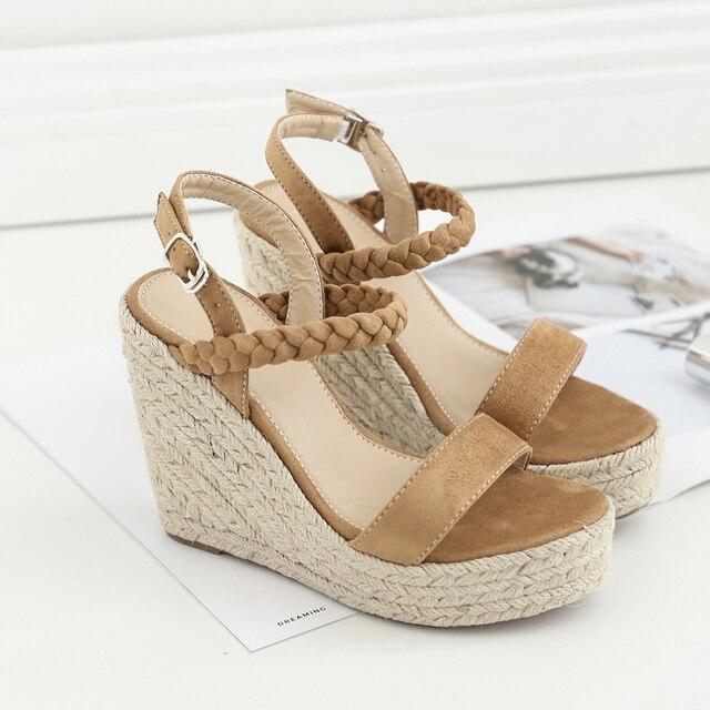 a3f5c8443f0fad Women Suede Espadrilles 10 cm Wedges Heels 3 cm Platform Ankle Strap Hemp Wedge  Sandals Bohemia Summer Beach Shoes