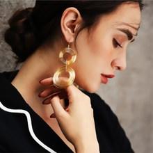 EK550 Punk Gold Color Big Geometric 3 Circle Long Dangle Earrings For Women Bohemian Party Exaggerated Brincos Fashion Jewelry