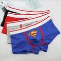 El envío gratuito! alta calidad 5 unids/lote Hotsale Superman Mens Ropa Interior Del Sexo Calzoncillos de Algodón Para Hombre Calzoncillos 3 colores M XL XXL