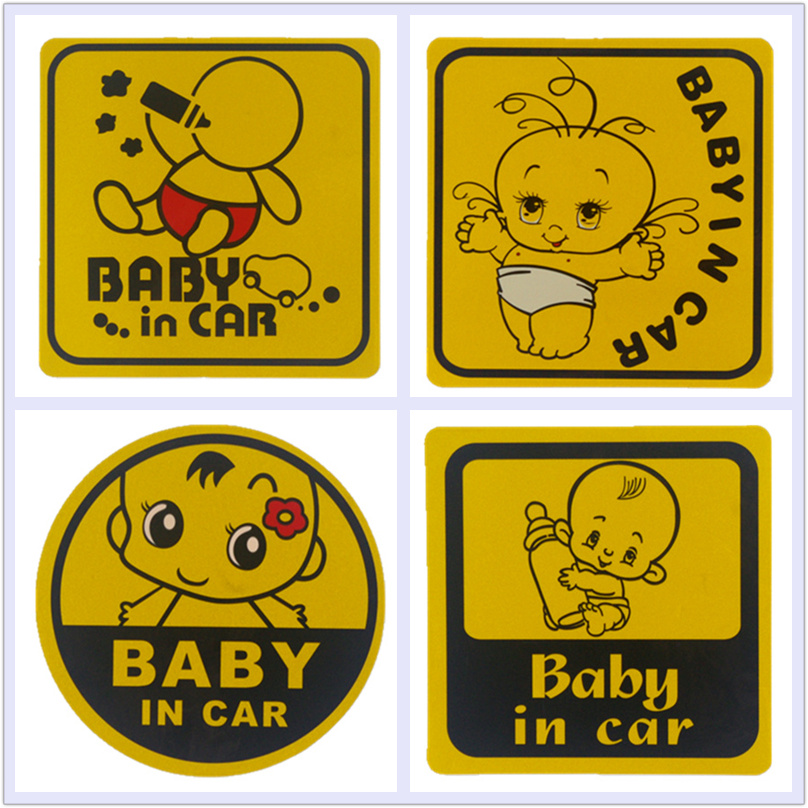 Car Stickers Baby in car Baby on Board Child in car Mama in car Lovely Decals Waterproof Eye-catching Reflective  11*11cm light reflective child in car stickers 4 pack
