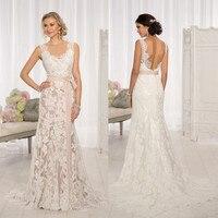 2016 Vintage Long Dress V Neck A Line Wedding Gowns Sleeveless Backless Train Tailored Bridal Dresses