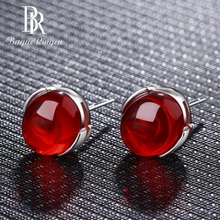 Bague Ringen Ethnic Stud Earings Fashion Jewelry for Women 925 Sterling Silver Red Green Gemstone Earrings Party Wedding Gift