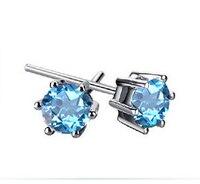 925 серебряные серьги женские модели Природный кристалл синий серьги