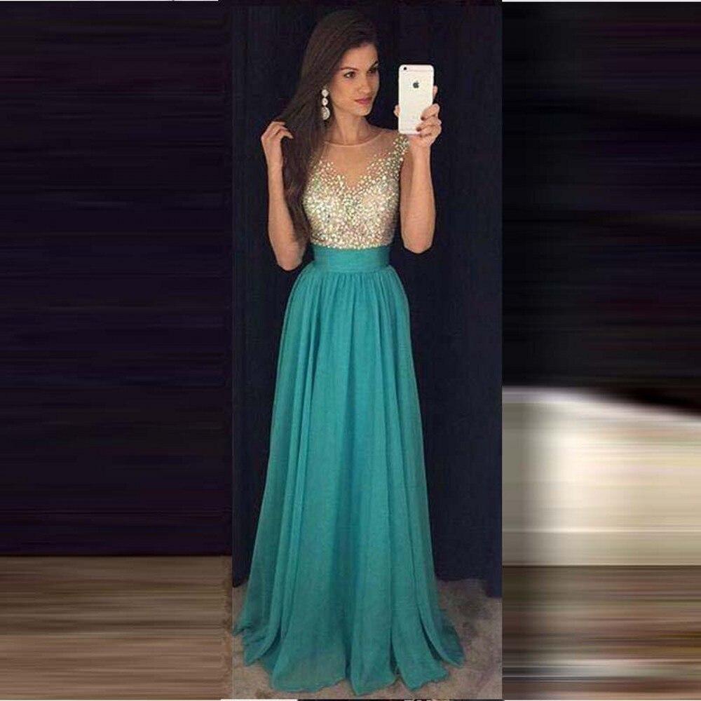 d6b2603d4 2016 Turquoise largo Prom vestidos Scoop una línea cremallera volver A  través de la cintura con volantes con cuentas vestidos de graduacion largos  en ...