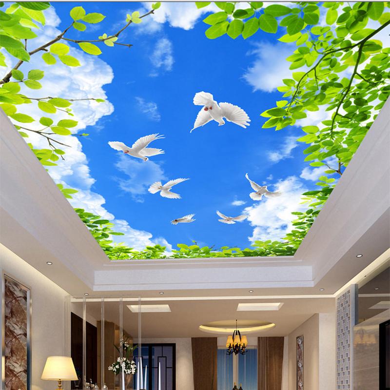 HD Blauen Himmel Green Leaf Weiss Tauben 3D Decke Wandmalereien Wohnzimmer Thema Hotel Cozy Innen Hause