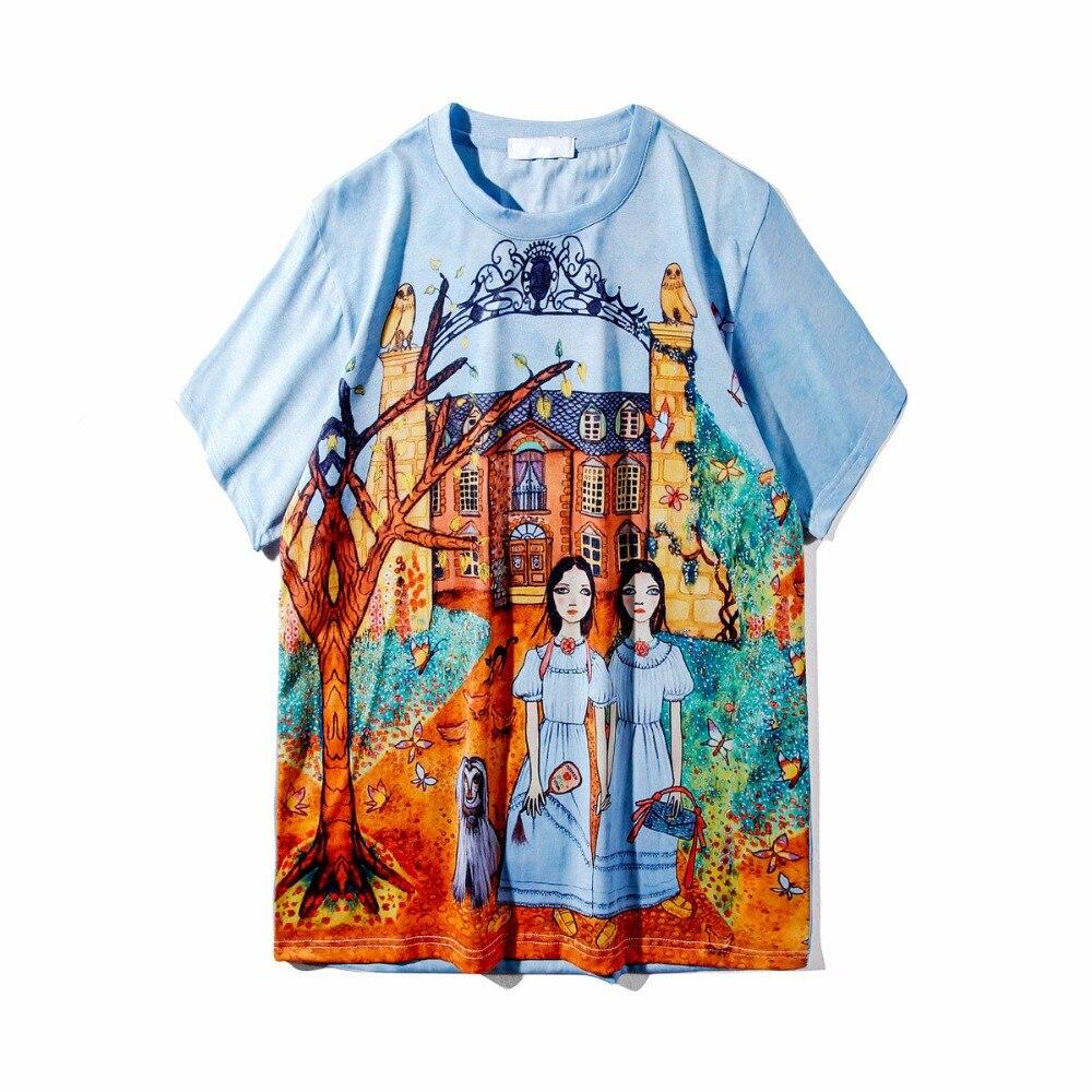 Dessinée Bande Casual O T À Ciel Courtes Manches Vente Nouveau 2018 Pu Ptinted De cou shirts Chic shirt Fille Bleu Tops Femmes Chaude T Printemps CEwxxqRBt