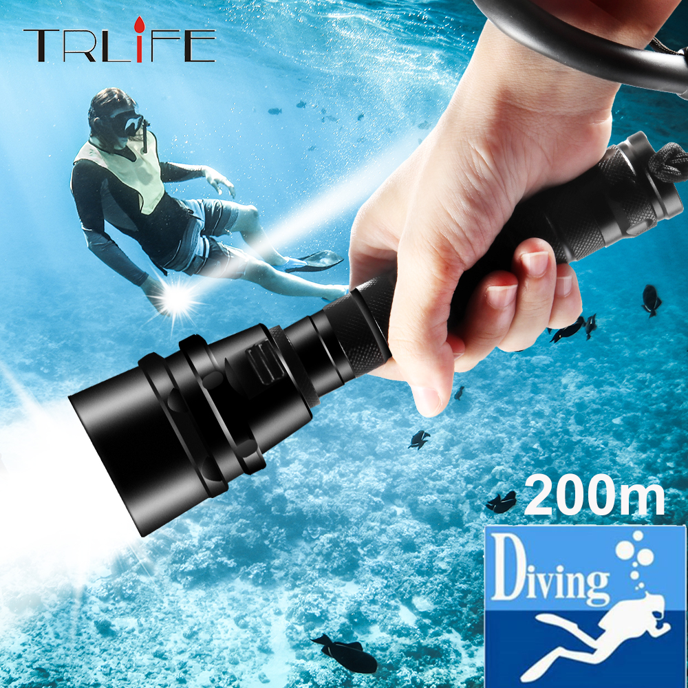 40000Lums Dive Scub Flashlight XML T6 L2 Diving LED Torch Lamp 200M Underwater Waterproof Professional Diving By 2*18650 Battery
