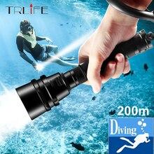 צלילה Scub פנס XML T6 L2 צלילה LED לפיד מנורת 200M מתחת למים עמיד למים מקצועי צלילה על ידי 2*18650 סוללה