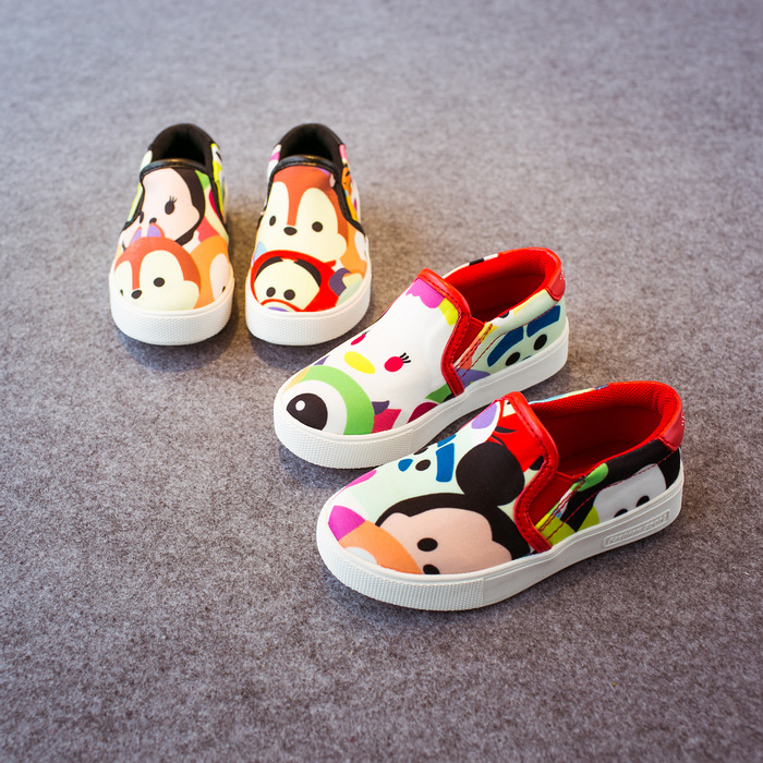 ФОТО Autumn 2015 New Children's Shoes Low Top Sneakers Girls Canvas Shoe Boys Cartoon Flashes Student Sneaker Monkey For Kids Flat
