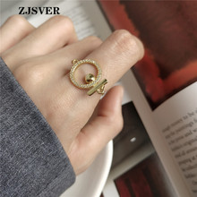 ZJSVER Korean Jewelry 925 Sterling Silver Rings Golden Fashion Crystal Circle Chain Ring For Women Or Girls Festival Present zjsver 925 sterling silver jewelry rings classic simple infinity chain glossy adjustable ring for women girls party or festival