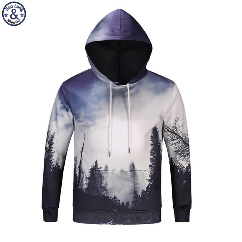 Mr.BaoLong New arrive autumn winter thin sweatshirt men fashion Aurora woods 3D printed hooded hoodies pullover man H95