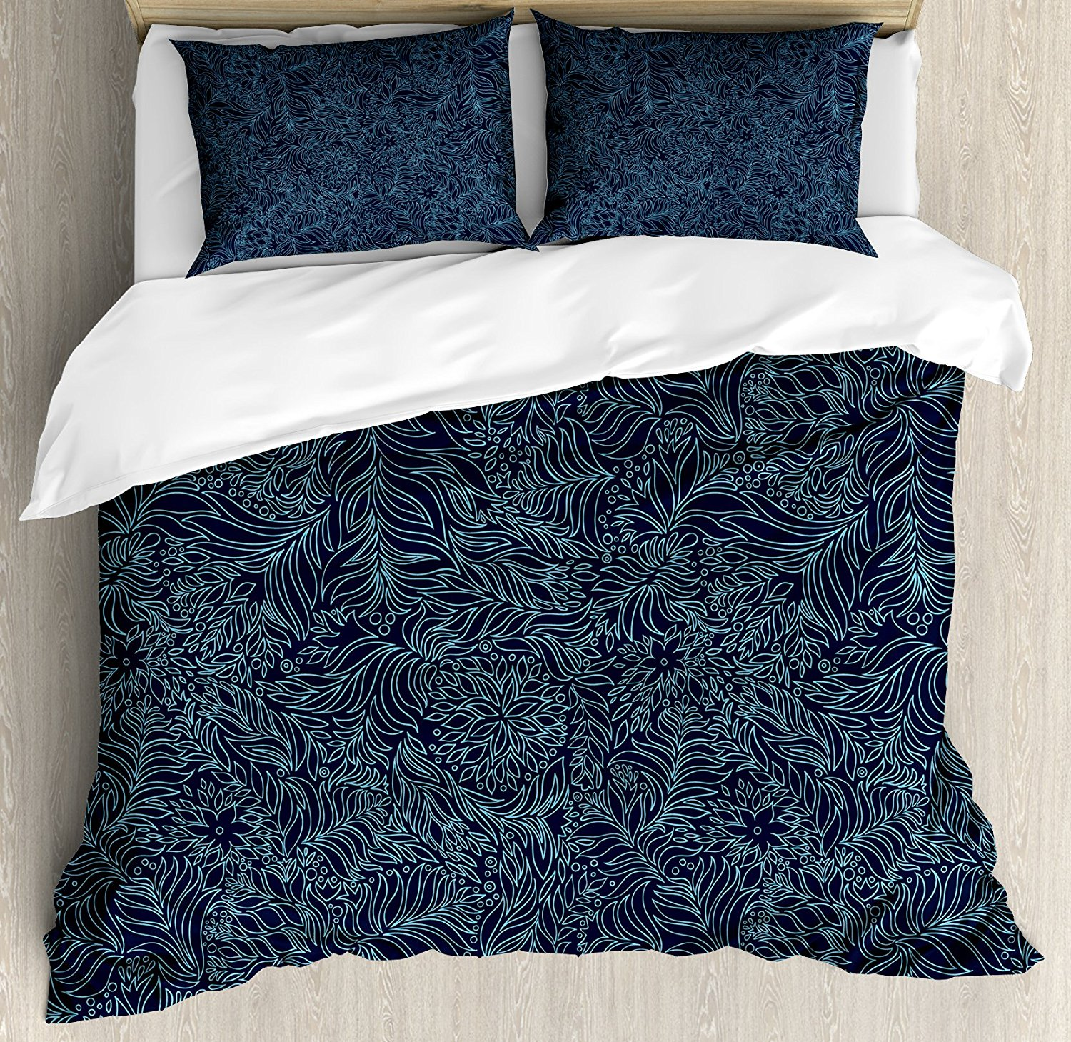Navy and Teal Duvet Cover Set Abstract Artistic Flourish Nature Inspired Pattern Leaves Blossoms ...