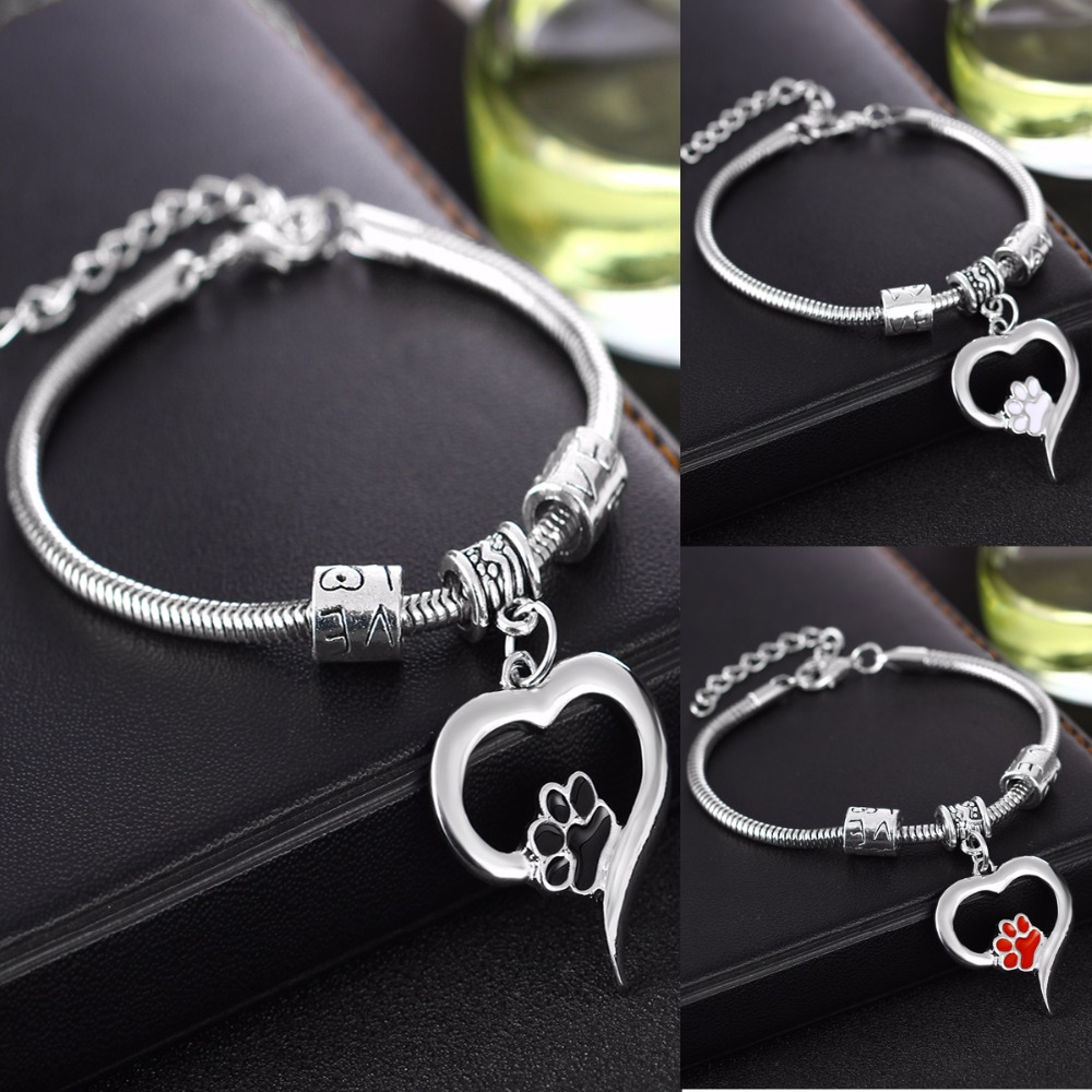 Cute Dog Cat Pet Paw Footprint Bracelet Family Friend Love Heart Charms Bracelets Women Animals Lovers Jewelry Gift Chain Bangle image