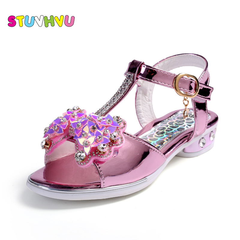 Kids Sandals For Girls Rhinestones 2019 Summer Students Children Princess Party Dance Shoes Children Gold Pink Good Quality